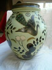 Grand vase faïence, Saint-Ghislain, Boch, style Lombard, art déco, décor paons