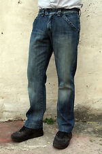 AJ ARMANI JEANS MENS VINTAGE FADED BLUE DENIM JEANS STRAIGHT LEG COTTON W31