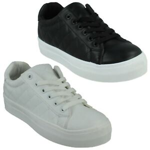 LADIES F7R204 WIDE CHUNKY FLATFORM LACE UP TRAINERS CASUAL SHOES SIZE SPOT ON