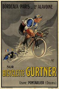 Gurtner Bordeaux Paris vintage cycling bicycle poster 24x36
