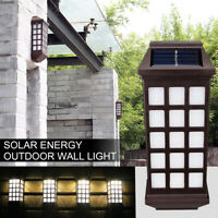 LED Solar Powered Wall Light Step Stair Door Lamp Garden Fence Lantern Outdoor