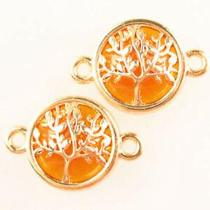 2Pcs Tibetan Gold Tree Orange Titanium Crystal Round Pendant Bead H92444