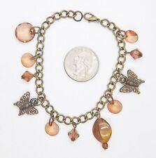 Fashion Charm Style Bracelet . Se230 Butterfly & Beads 8 1/2 in