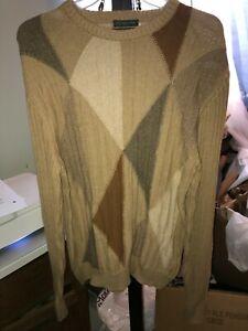 LYLE & SCOTT SCOTLAND ARGYLE Brown Taupe Tan Beige Chunky Rib Knit Sweater Men M