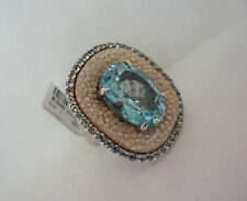 BLUE SOLITAIRE TOAPAZ & WHITE STINGRAY RING, BY FALCHI ~ .925 SS. SZ9 ~NICE GEMS