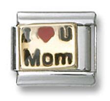 I Heart U MOM 9mm Stainless Steel Italian Charm Bracelet Link Love 18k Gold New