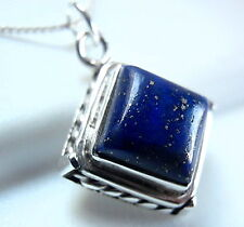 Lapis Square Pendant 925 Sterling Silver with Rope Style Accented Sides New