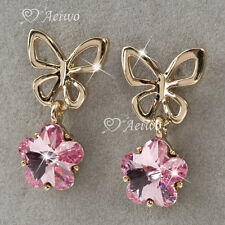 18K GF 18CT Rose GOLD PINK CRYSTAL BUTTERFLY BOW DROP EARRINGS STUD