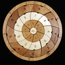 PinWheel wood brain teaser puzzle - beautiful design from 3 hardwoods USA
