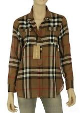 NEW BURBERRY LADIES CURRENT TAUPE BROWN CHECK COTTON SHIRT TOP L LARGE