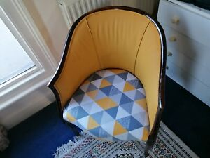 Chair /Solid Frame. Vintage Retro Wooden Tub Chair Reupholstered
