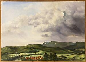 Gemälde - Landschaft, Landschaftsmalerei Gebirge Dorf / Malerei