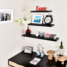 "Set of 3 Simons Floating Wall Shelves,18"" 24"" 36"", Welland, Black"