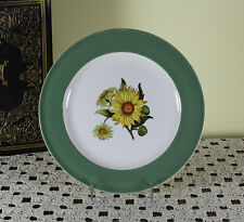 Collectors Cabinet Plate Plate, Pastel Green Band with Sun Flower