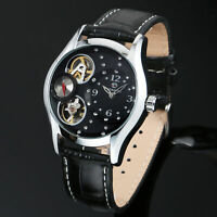 Mens Watch Mechanical Black Leather Strap Analog Display Crystal Skeleton Luxury