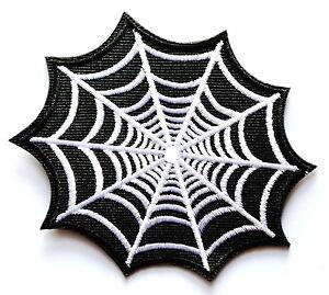"White Cobweb in Dark Sky web retro boho tattoo applique iron on patch ≈3.3*3"""