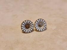 Denmark Georg Jensen 925S Sterling Silver Enamelled Daisy Earrings