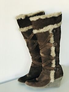 A.N.A Dark Brown Suede Fuzzy Lace Up Knee High Boots Women's 7M Wedge Excellent