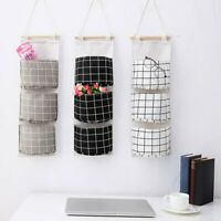 3 Pockets Wall Door Hanging Storage Bag Cotton Linen Home Organizer Basket Pouch