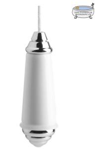 Bathroom Toilet Pull Cord For Light Switch ~Chrome Porcelain Modern Traditional