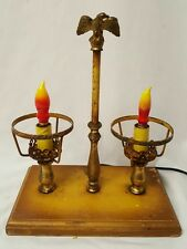 Vintage Bouillotte Brass Double Light Electric Table Lamp bald eagle topper