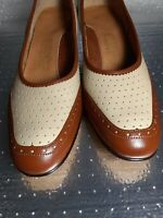 Women Shoes Size 10 M Beige And Brown Leather FOOTTHRILLS BY CLINIC MADE USA.