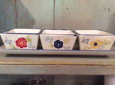 Set of 3 ceramic dip dishes on Matching Ceramic Tray