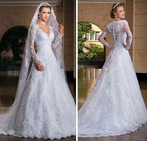 Lace Applique Long sleeves Illusion back wedding dress, UK tailor, 4 - 28