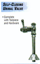 Self-Closing Urinal Valve w/tailpiece & hardware