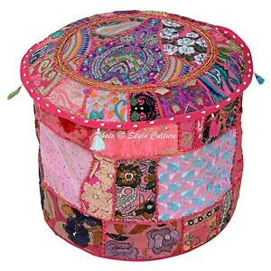 """Bohemian Round Pouf Cover Patchwork Embroidered Modern Pouffe Indian 22"""" Pink"""