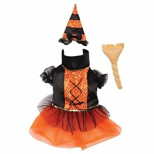 SPELLHOUND WITCH Dog Costume Hat Broom Toy Adjustable Easy On/Off Closures X-SM