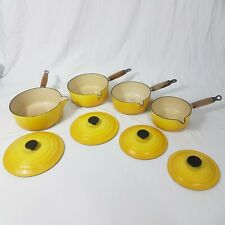 Vintage Le Creuset Cast Iron 4x Sauce Pan Set Yellow (16) to (22)