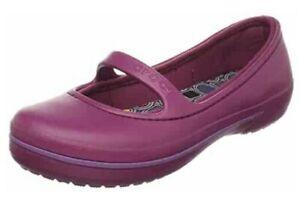 CROC CROCBAND WINTER FLAT OLIVIA ALICE MARY JANE PRIMA SHOE Purple Plum Size 10