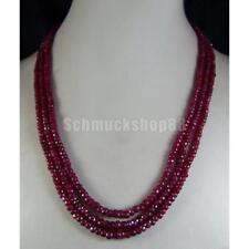 Frauen Damen Natur Rubin Facettierte Perlen Statement Halskette 3 Strang
