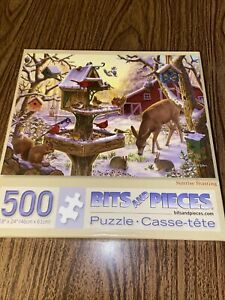 Bits And Pieces 500 Pieces Jigsaw Puzzle Sunrise Feasting Deer Cardinals Winter