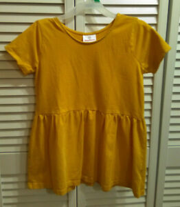 Hanna Andersson Girls Top Shirt Size 150 Gold Short Sleeve
