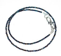 925 Sterling Silver Multi Black Spinel Gemstone 12-40 Inch Strand Necklace LU-22