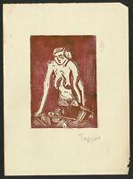Holzschnitt signiert GEORGE TAPPERT - Original Papier der 20er - Die Brucke