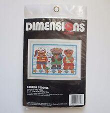 Dimensions Seaside Teddies Stamped Crewel Embroidery Kit Beach Teddy Bears #6175