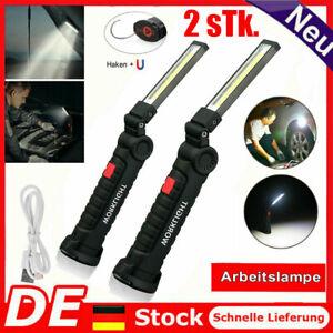 2x COB LED KFZ Arbeitsleuchte Akku Werkstattlampe Handlampe Stablampe Mit Magnet