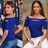 Womens Sexy Cut Cold Shoulder Short Sleeve Slim Blouse Tops T-Shirt Plus Size US