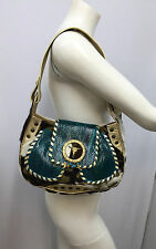 GUISEPPE ZANOTTI PURSE PONYHAIR PYTHON GOLD BULLS HEAD TURQUOISE CHARMS WITH SAC