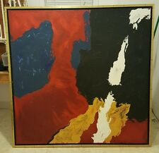 ABSTRACT EXPRESSIONIST OIL PAINTING SIGNED RON BURNETT LARGE 50X50
