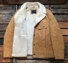 Vintage JCPENNEY Tan Brown Suede Leather Sherpa Lined Western Rancher Coat 40R