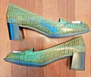 "7 1/2M Nine & Co. Olive Green Croco Leather 2"" Block Heel Tassel Loafer Shoes"