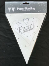 Pearl Wedding Party Bunting 30th Wedding Anniversary Flag Banner Decoration