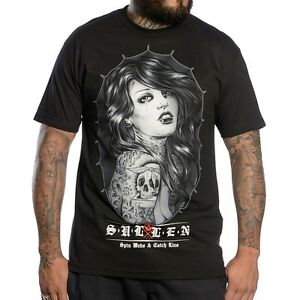 SULLEN CLOTHING SPINNING WEBS PIN UP GIRL PUNK TATTOO GOTH INK BLK T SHIRT S-5XL
