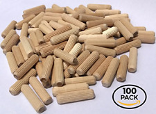 """100 Pack 3/8"""" x 1 1/2"""" Wooden Dowel Pins Wood Kiln Dried Fluted and Beveled, of"""