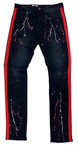 Men's Waimea Black/Red Side Tape Jeans with Paint Splatter