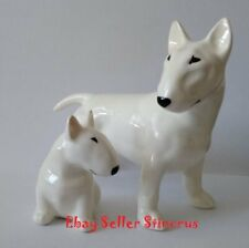 Bull Terrier two White realistic dogs. Author's Porcelain figurines NEW 2019